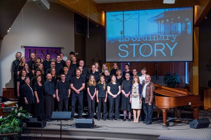 The No Ordinary Story choir and cast.