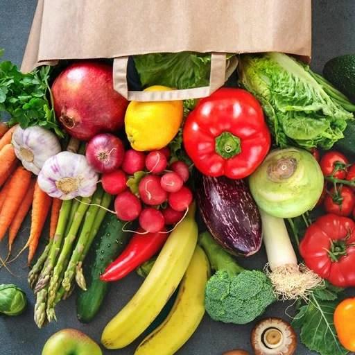 Image de fruits et légumes frais livrés avec l'app de repas santé