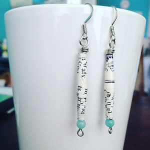 Newsprint paper bead earringsRoad and