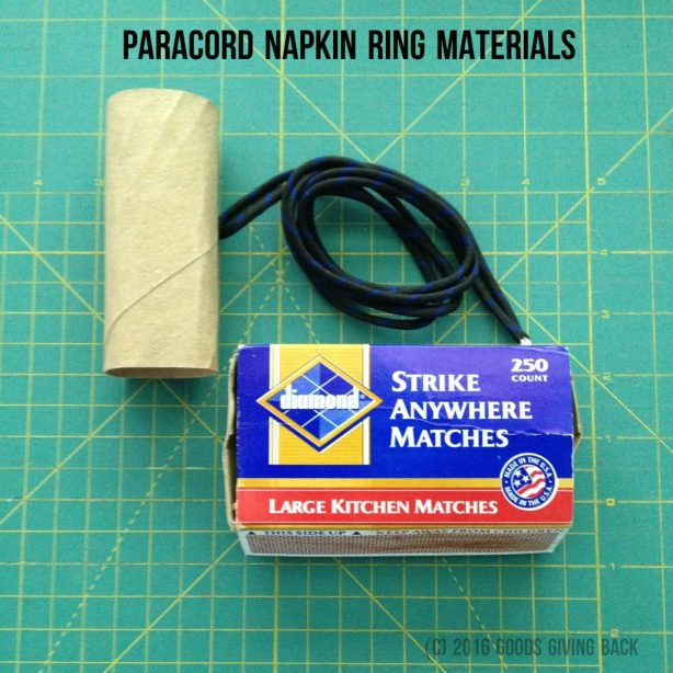 Paracord napkin ring materials