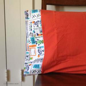 Flannel pillowcase with science theme border