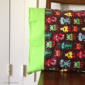 Flannel pillowcase with silly monsters