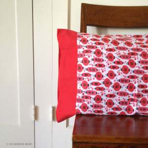 Flannel pillowcase with red hanging lanterns