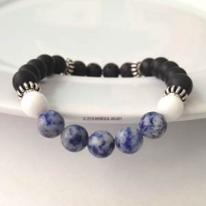 Blue gemstone lava rock essential oil bracelet