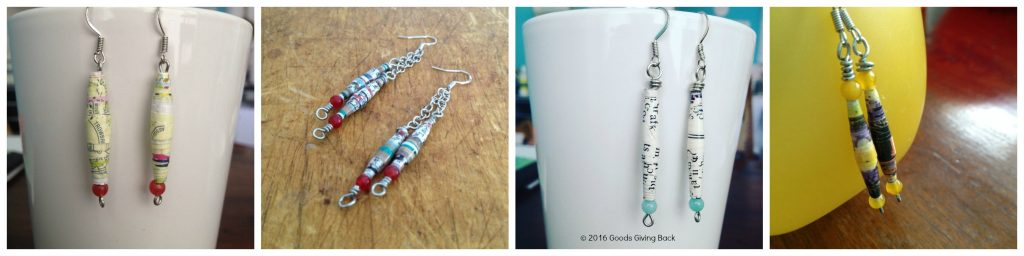 Paper bead earrings made with junk mail.