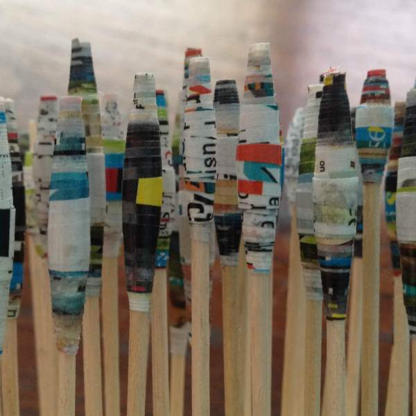 Paper beads air dry on toothpicks stunk in green oasis