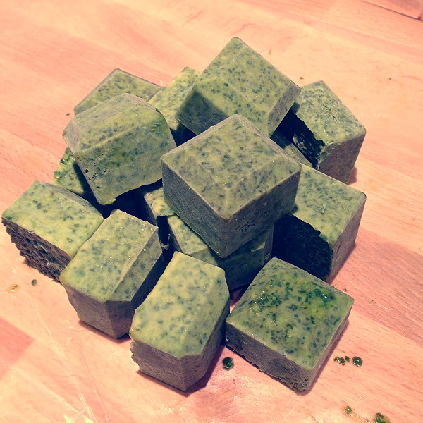herb cubes in oil