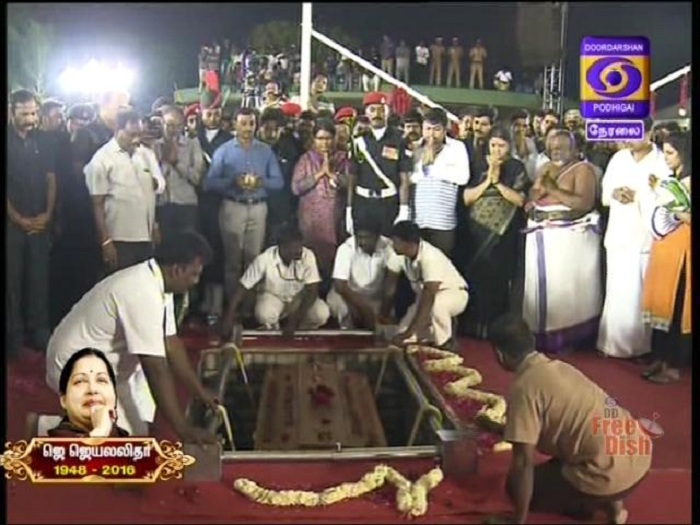 J Jayalalithaa Was Buried in Marina Beach