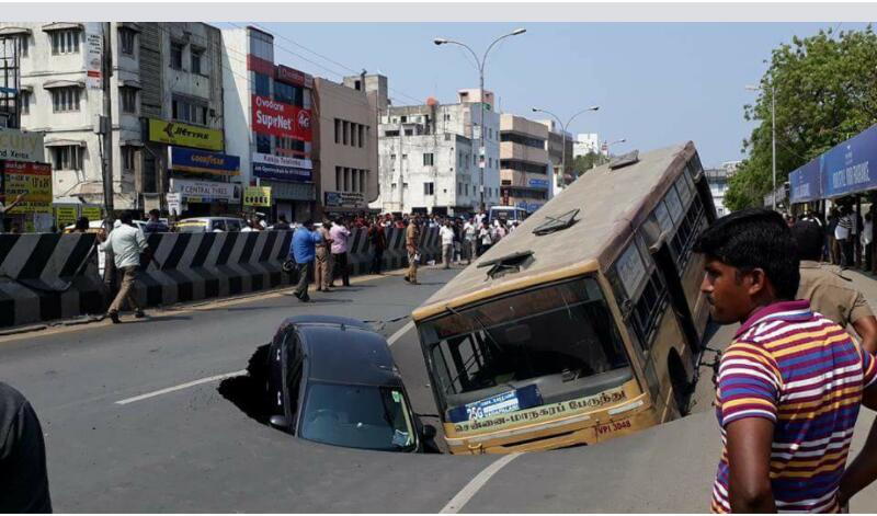 Bus and Car Trapped as Road Caves In Chennai, No Causality Reported