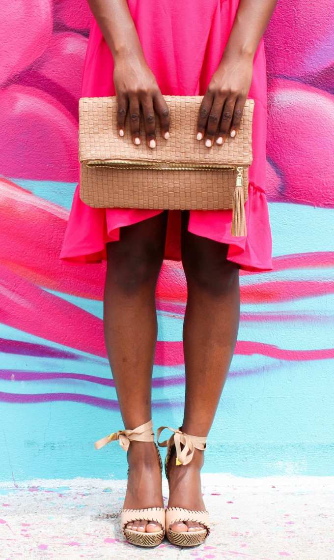 pink summer dress style and charming charlie's woven clutch // seychelles wedges // all under $100