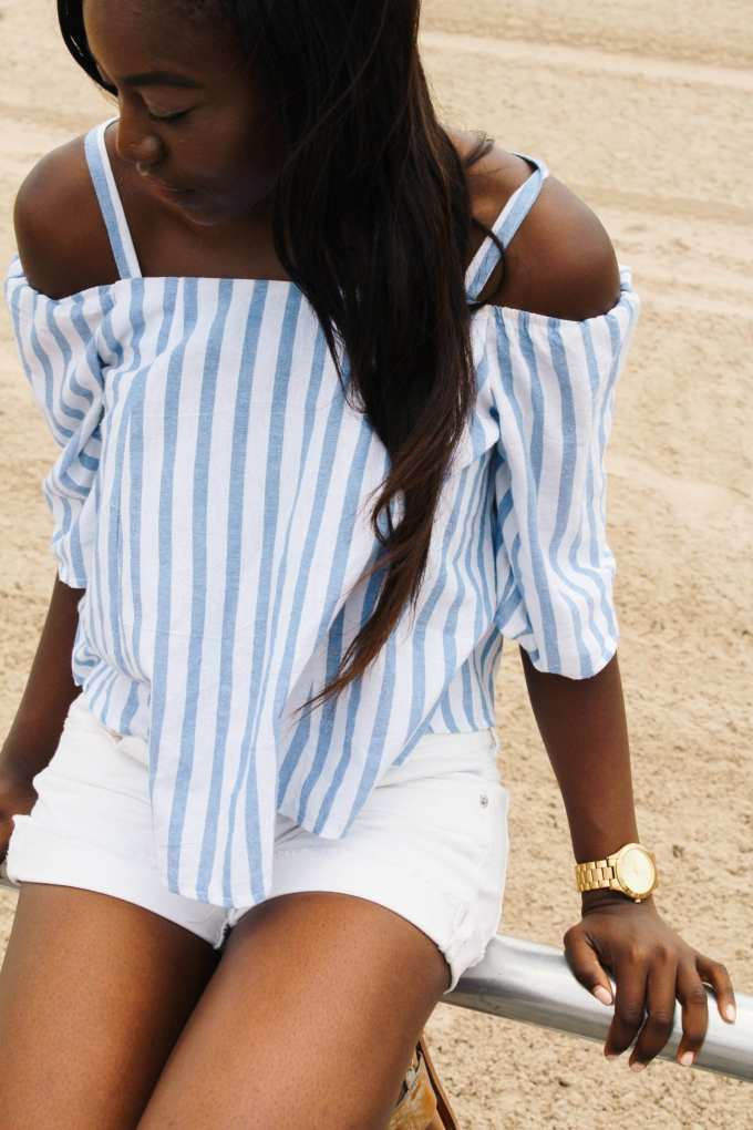 white and blue off the shoulder top from Tobi.com
