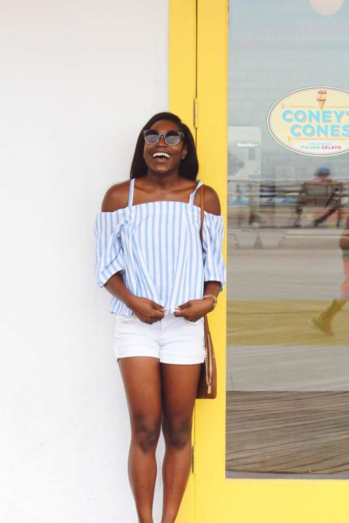white and blue off the shoulder top coney island black girl blogger goodtomicha