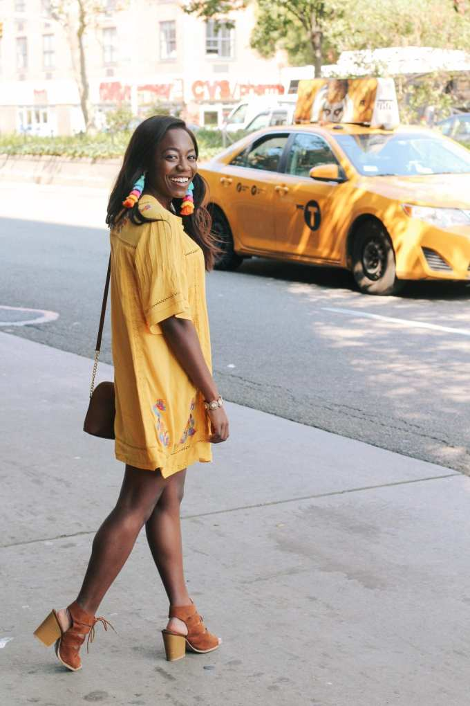 Marigold yellow is the fall color of the season! I loved wearing this dress around Manhattan for fashion week | Shop the look | GoodTomicha | Southern Fashion and Lifestyle Blogger