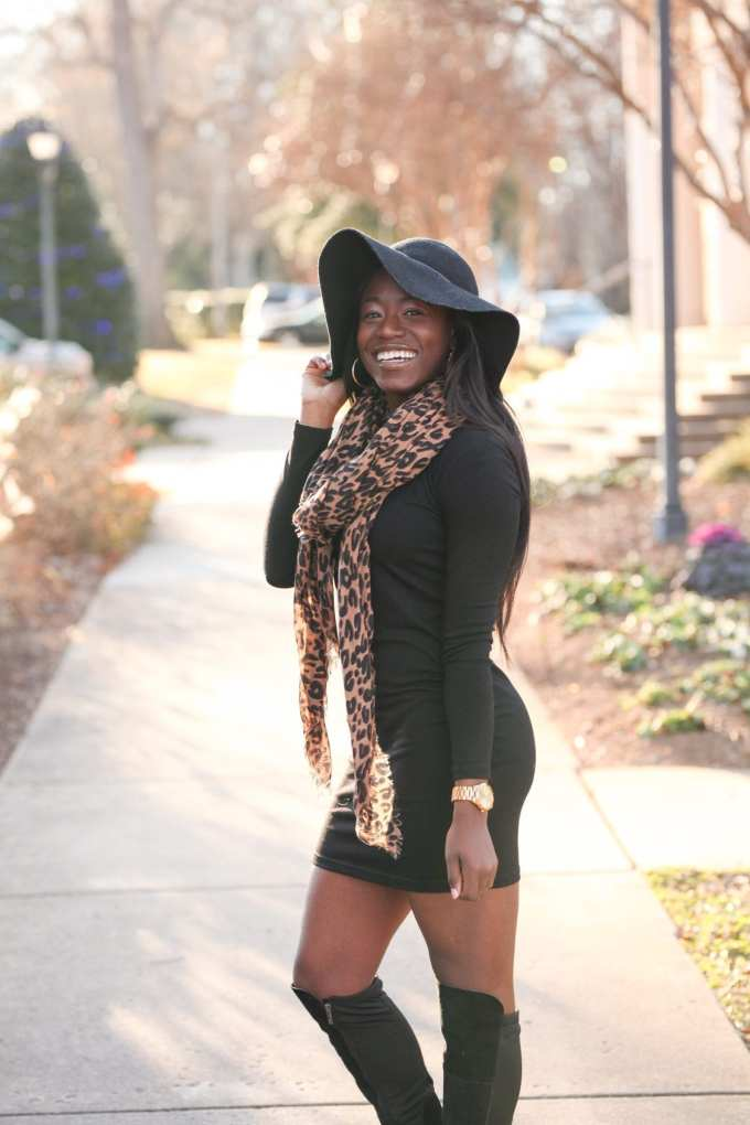 Greenville Fashion Blogger, GoodTomiCha, shares her tips on how to style little black dresses in the winter. This LBD is perfectly paired with leopard scarf and over the knee boots. Grab this under $50 find and read the rest of her tips on the blog!