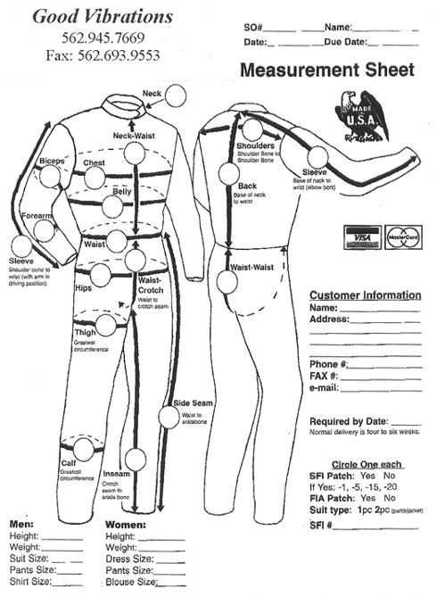 Driving Suit Measurements and Care