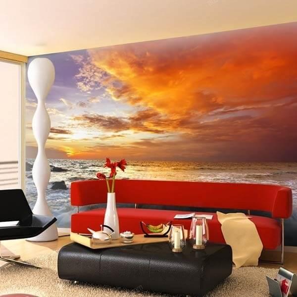 Fotomural paisaje de atardecer  Mural de pared en vinilo