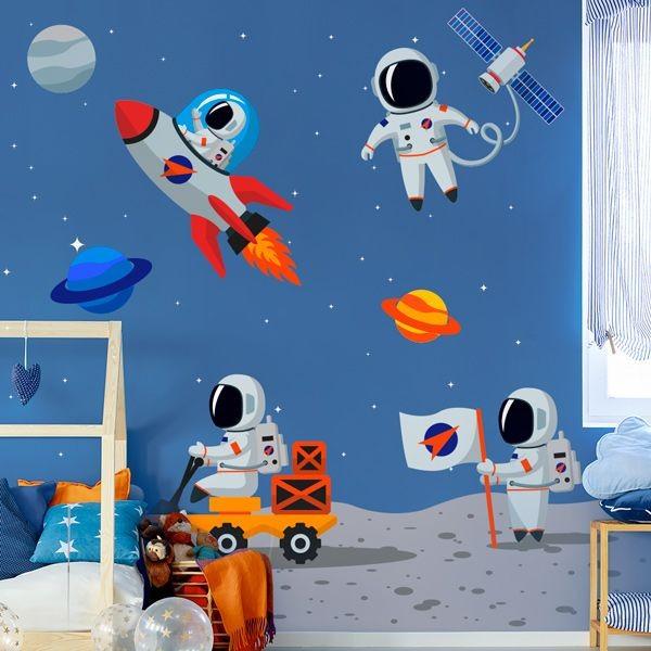 Vinilo de pared infantil astronautas  Adhesivos decorativos
