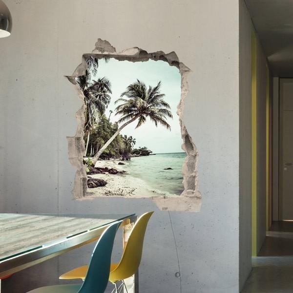 Vinilo de pared trampantojo playa  adhesivos