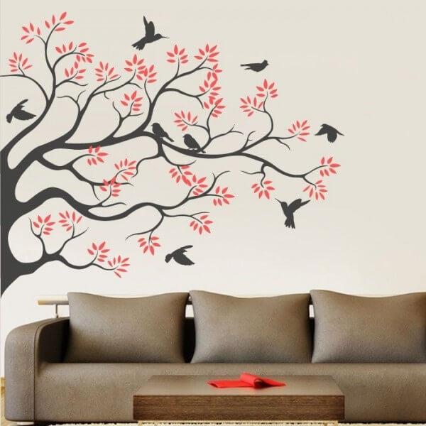 Adhesivo de pared rbol y pjaros  Vinilos decorativos