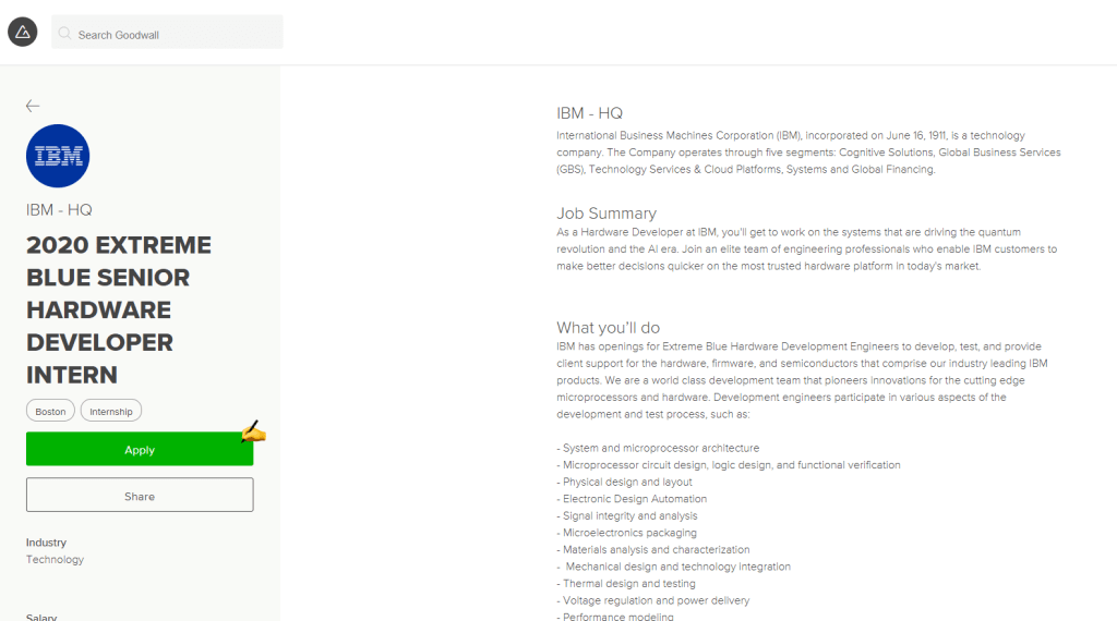 example of Goodwall internship job opportunity page