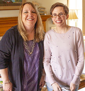 Rachel in her home with Supported Community Living Specialist Jen