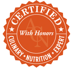 Certified With Honors from the Academy of Culinary Nutrition
