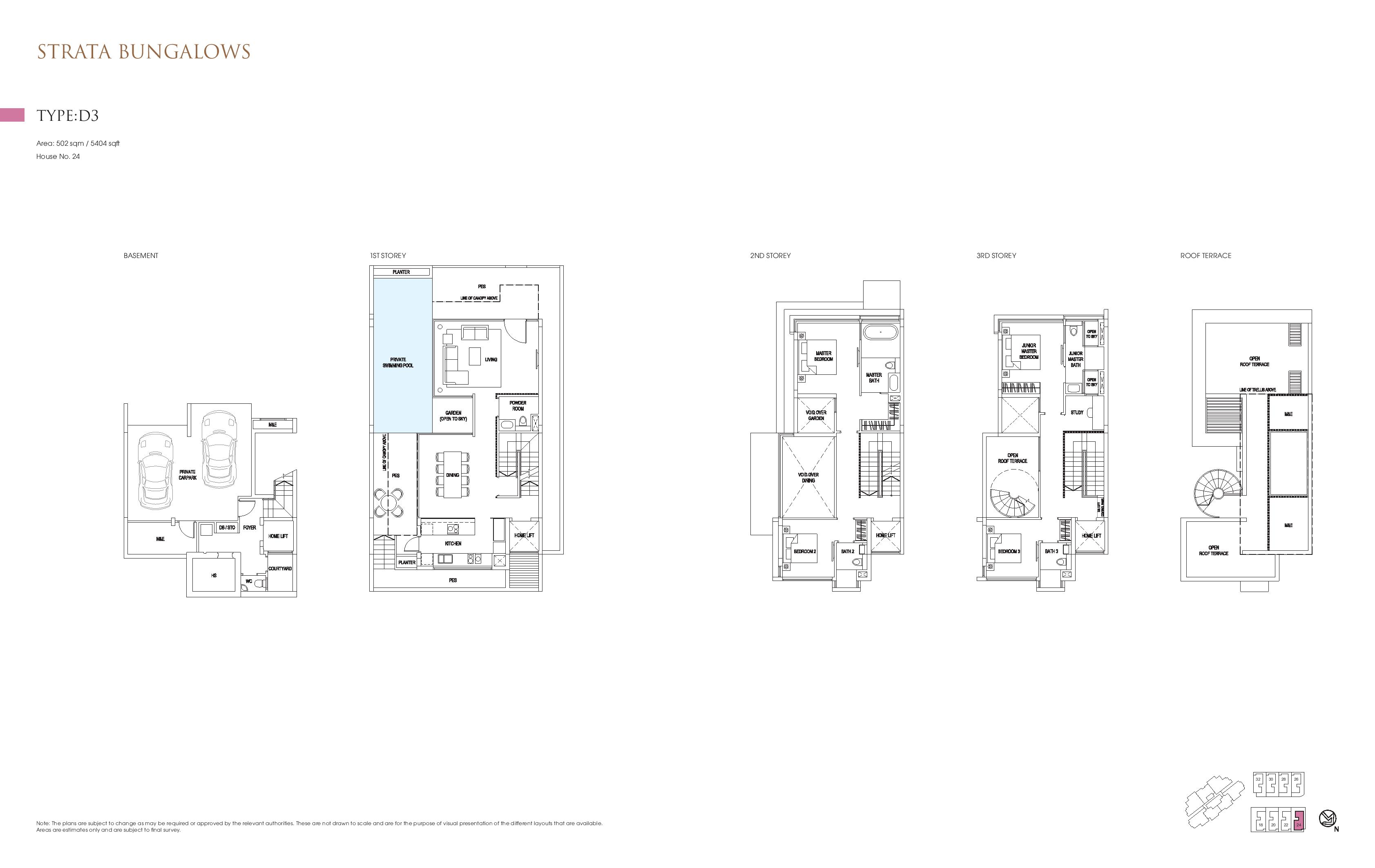 Goodwood Grand Strata Bungalows Type D3 Floor Plans