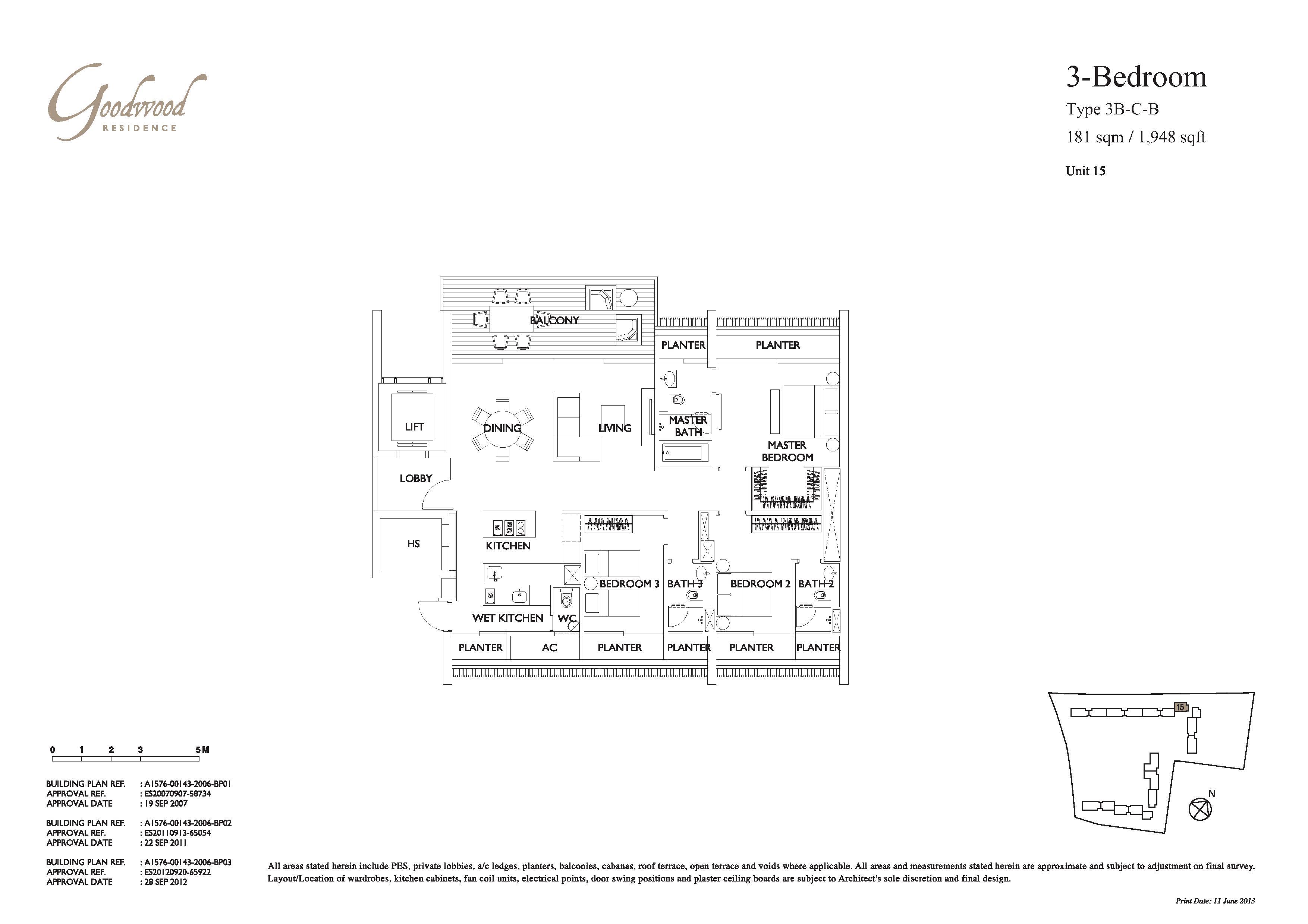 Goodwood Residence Type 3B-C-B Floor Plans