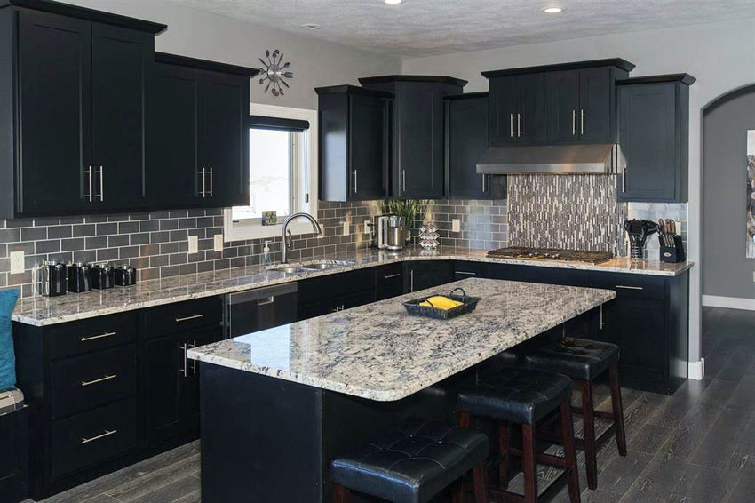 kitchen black cabinets handles even your can be bold and beautiful contemporary with island giallo verona granite counters znwvbrg