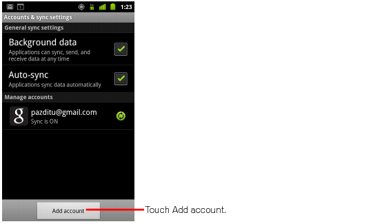 Android add an account screen