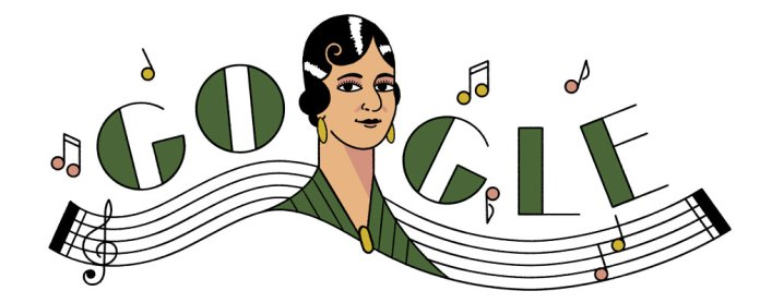 Google doodle illustration of Maria Grever with music notes in the background