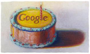 La mulţi ani Google, cu ocazia celei de-a 12-a aniversari. Autor  Wayne Thiebaud. Imagine folosită cu permisiunea VAGA NY.