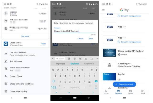 google pay card names
