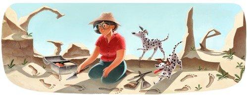 Google Doodle 100. Geburstag von Mary Leakey