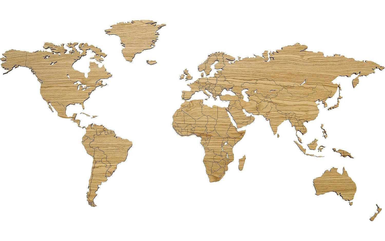 Schilderij Wereldkaart Hout Bruin eiken kopen  Goossens