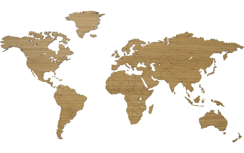 Schilderij Wereldkaart Hout Bamboe kopen  Goossens
