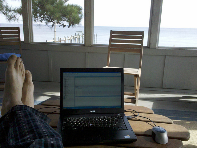 Working in paradise on vacation