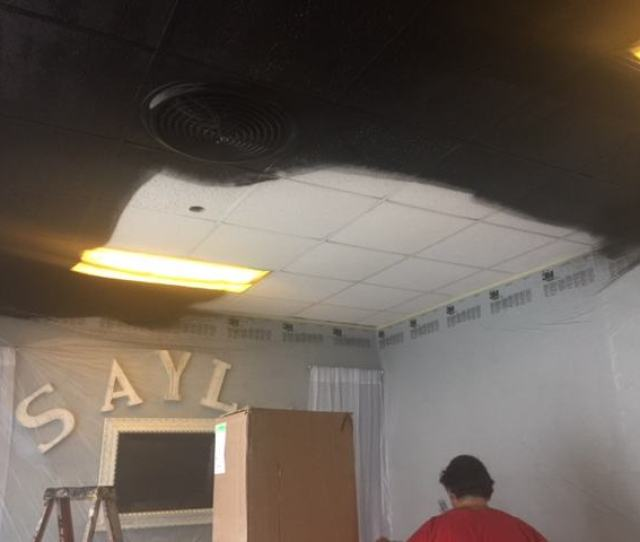 When Painting A Drop Ceiling We Usually Have  Different Employees Look From All Possible Angles To Make Sure Everything Is Completely Coated