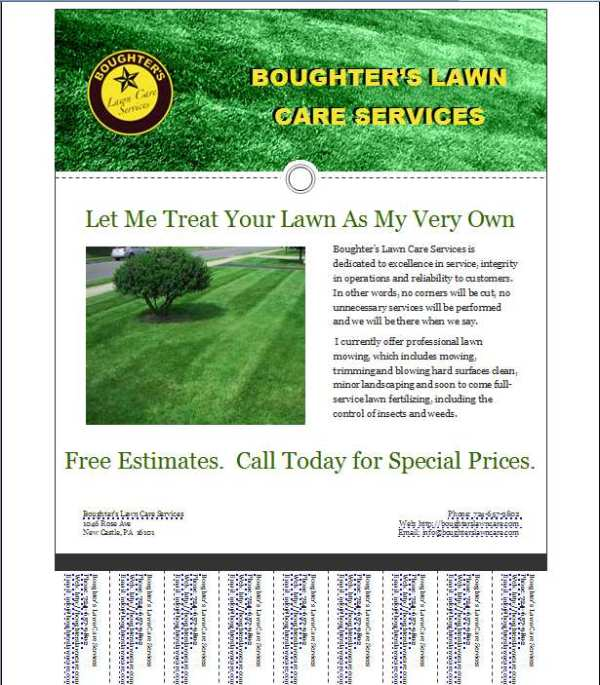 mark lawn care business flyer