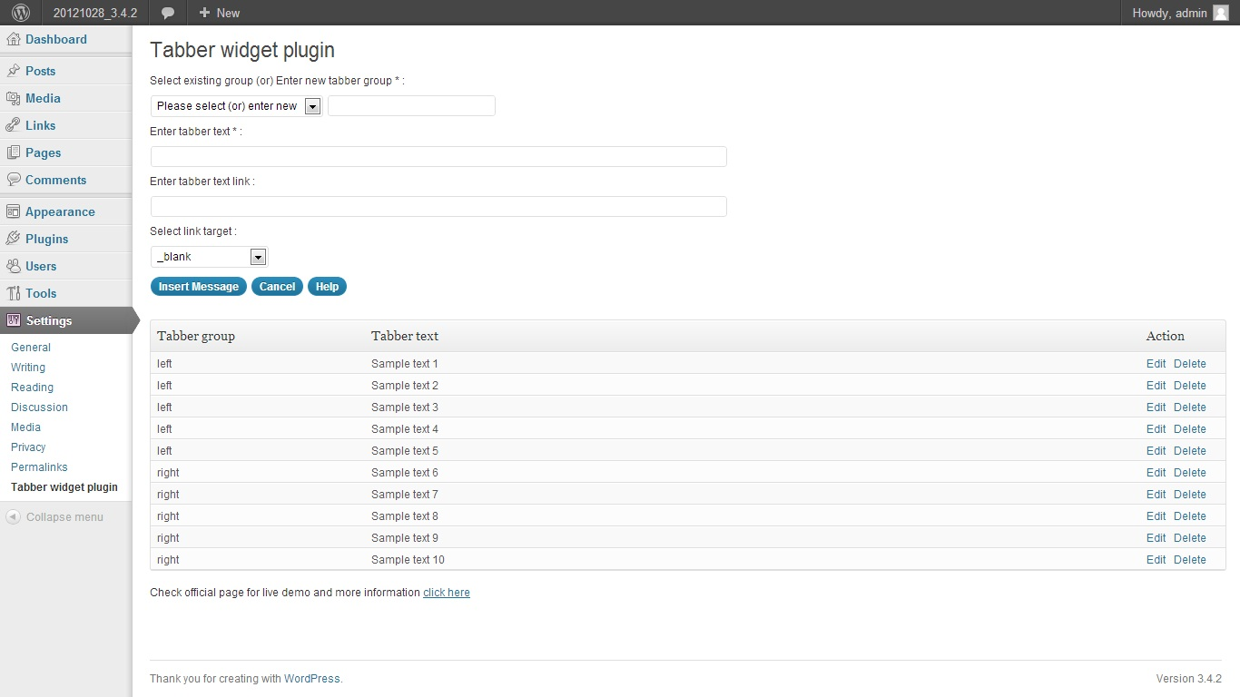 Tabber widget plugin for wordpress
