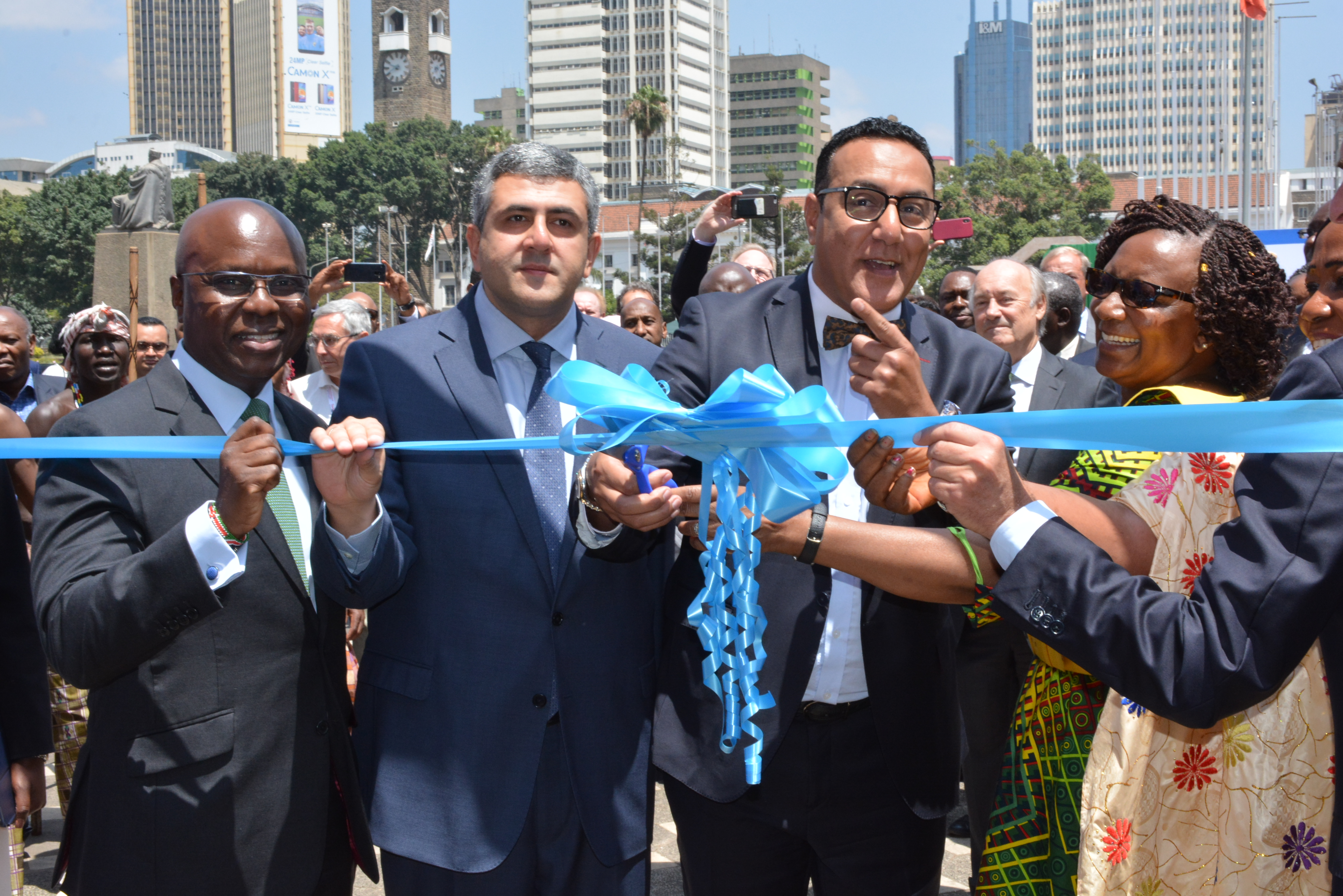 (From left to right) Kenya Tourism Board Chairman, Jimi Kariuki, UNWTO Sec. Gen. Zurab Pololikashvili, Tourism and Wildlife CS Najib Balala and Zimbabwe Tourism Minister, Priscah Mupfumira