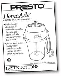 Instruction Manual for Presto® HomeAde™ electric lemonade