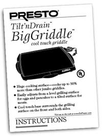 Instruction Manual for Tilt'nDrain™ BigGriddle® cool-touch