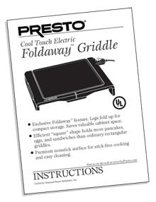 Instruction Manual for the Foldaway® electric griddle