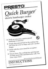 Instruction Manual for the Presto® QuickBurger™ Electric