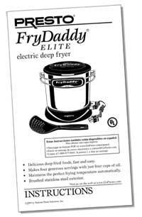 Instruction Manual for FryDaddy® Elite electric deep fryer