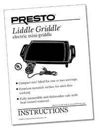 Instruction Manual for Liddle Griddle™ mini-griddle