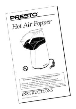Instruction Manual for Presto® Electric Hot Air Popper