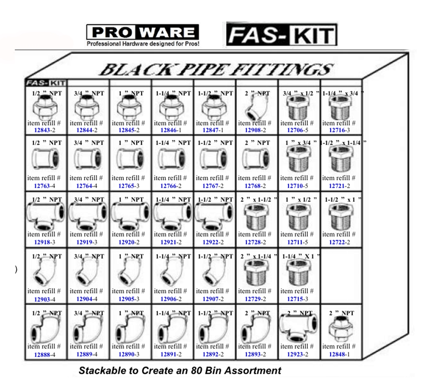 Pro Fit Sch 40 Black Pipe Fitting Assortment Open Hole
