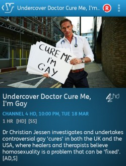 Undercover Doctor: Cure Me, I'm Gay (YouView app screenshot)